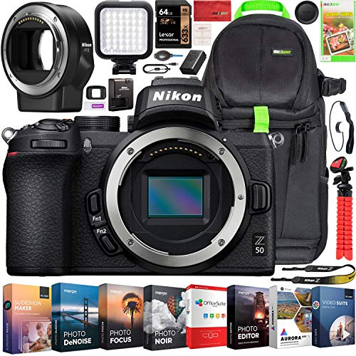 Nikon Z50 Mirrorless Camera Body 4K UHD DX-Format Bundle FTZ Lens Mount Adapter and Deco Gear Backpack Travel Case +...
