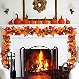 YQing 2 Stück Künstliche Ahornblatt Girlande, unechte Herbstlaub Blätter Künstliche Herbstblätter für drinnen und draußen Hochzeit Erntedankfest Abendessen Party Kamin Dekoration - 2