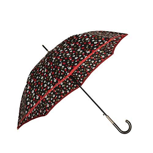 BOLERO OMBRELLI - Ombrello da Pioggia Lungo classico Antivento e Automatico - apertura Automatica - Tessuto Pongee 210T con Manopola a Tubetto (Fiori)