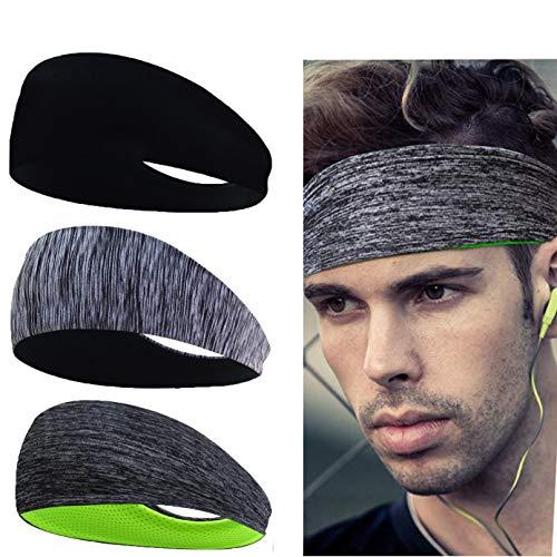 Linlook Sport Stirnband für Herren und Damen - Schweißband Anti Rutsch für Jogging, Laufen, Wandern, Fahrrad- und Motorrad Fahren 3 Pack