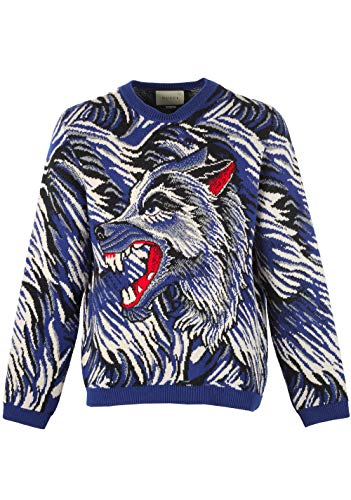 Gucci CL Blue Crew Neck Wolf Guccy Sweater Shirt Size L / 40R U.S.