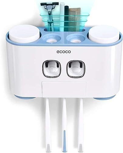 4 in 1 Multifunctional Handfree Bathroom Shower Toothbrush Holder Organiser Automatic Toothpaste Dispenser Set