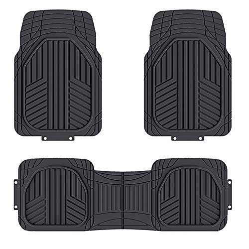AmazonBasics 3-Piece All-Season Odorless Heavy Duty Rubber Floor Mat for Cars, SUVs and Trucks, Black