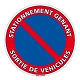 Adhésif - Stationnement Gênant Sortie de Véhicules - Diamètre 250 mm - Protection Anti-UV