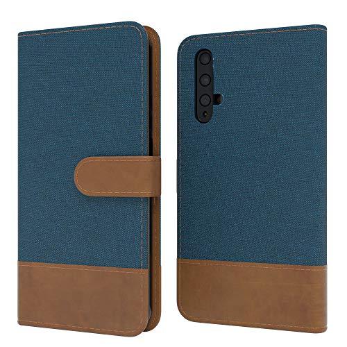 EAZY CASE Tasche kompatibel mit Honor 20 / Huawei Nova 5T Stoff Schutzhülle mit Standfunktion Klapphülle Bookstyle, Handytasche Handyhülle mit Magnetverschluss & Kartenfach, Kunstleder, Dunkelblau