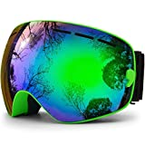 HONGDAK Ski Goggles, Snowboard Goggles UV Protection, Snow Goggles Helmet Compatible for Men Women Boys Girls Kids, Anti