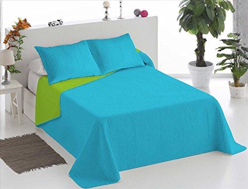 ForenTex - Colcha Boutí, (XQ-TP), Reversible, Bicolor Turquesa Pistacho, cama 150 cm, 250 x 260 cm, +2 fundas cojín 40 x 60 cm, 220 gr/m2 (relleno ligero 80gr/m2)
