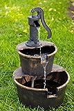 Alpine Corporation TIZ194BZ Alpine 2-Tier Rustic Pump Barrel Waterfall for Garden, Patio, Deck, Porch-Yard Art Decor Outdoor Water Fountain, Gray