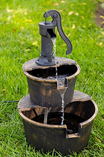 Alpine Corporation TIZ194BZ Alpine 2-Tier Rustic Pump Barrel Waterfall for Garden, Patio, Deck, Porch-Yard Art Decor Outdoor Water Fountain, Gray