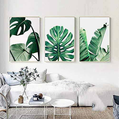Set de 3 Impressions sur Toile Vert Tropical Plante Feuilles Poster Décoration Murale Nature Tableau Modern Affiches Deco Salon PTLS005-S