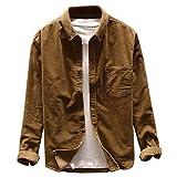 MakingDa Camisas de pana casuales de manga larga con botones de ajuste regular para el salón de trabajo liso, marrón, XL