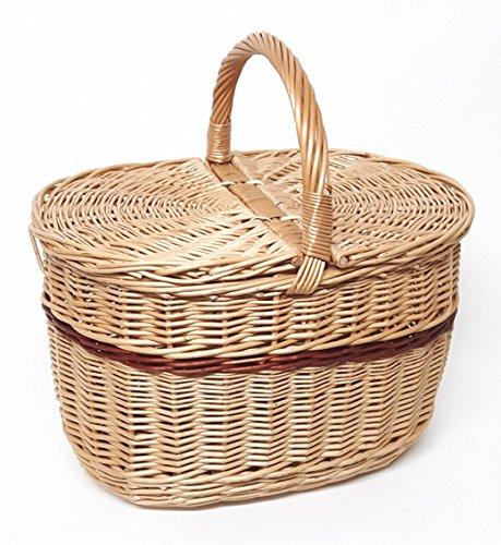 Tigana Picknickkorb mit Zwei Deckel Einkaufskorb aus Weide (40 x 30 cm - 2F)