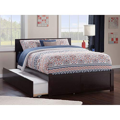 Atlantic Furniture Orlando Full Platform Bed with Flat Panel Foot Board and Twin Size Urban Trundle Bed in Espresso