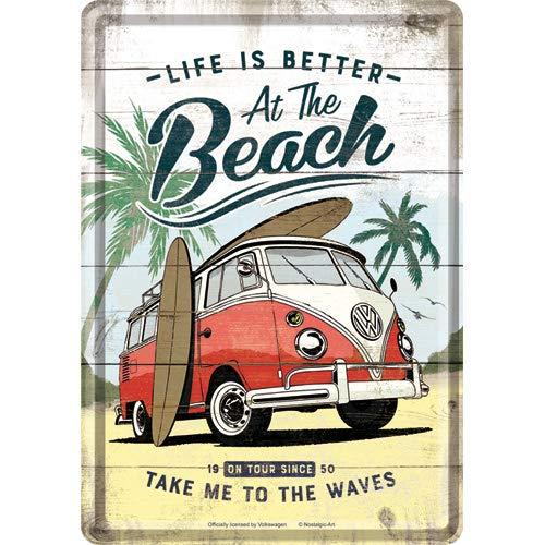 Nostalgic-Art, Retro Grußkarte, Volkswagen Bulli T1 – Beach – VW Bus Geschenk-Idee, Blechpostkarte, Mini-Blechschild im Vintage-Design, 10 x 14 cm