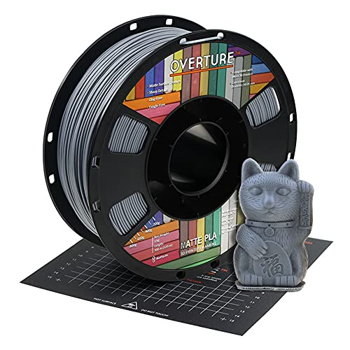 OVERTURE Matte PLA Filamento 1.75mm con 3D Costruisci Superficie 200mm x 200mm Consumo, Opaco PLA Roll 1kg Bobina(2.2lbs), Precisione Dimensionale +/- 0.05 mm, per Stampante 3D (Grigio Chiaro)