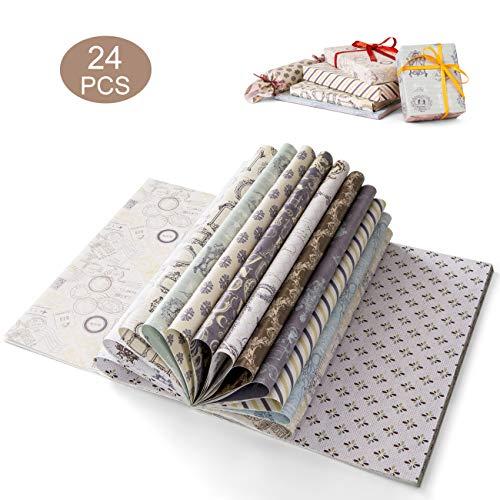 Kesote 24 Blätter Geschenkpapier Vintage Geschenkverpackung für Geburtstag Geschenk Buch Handwerk (45 x 30,3 cm, 12 Motive)