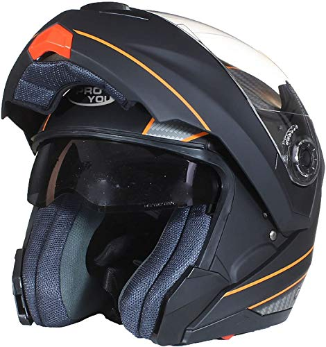 Casco de moto delantero hacia arriba casco de cara completa Flip Up casco modular para motocicleta scooter ciclomotor ECE certificado negro mate naranja pequeño