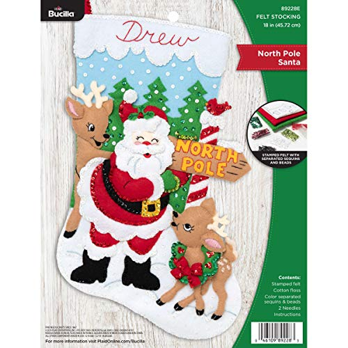 Bucilla Felt Applique Christmas Stocking Kit, 18', North Pole Santa