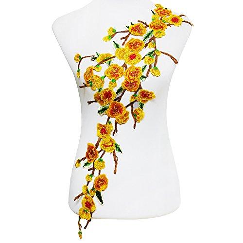 Emdomo Pflaumenblüten-Stickerei, Spitzenflicken mit Spitzenband, zum Aufnähen von Stickern für Bastelarbeiten, 1 Stück gelb