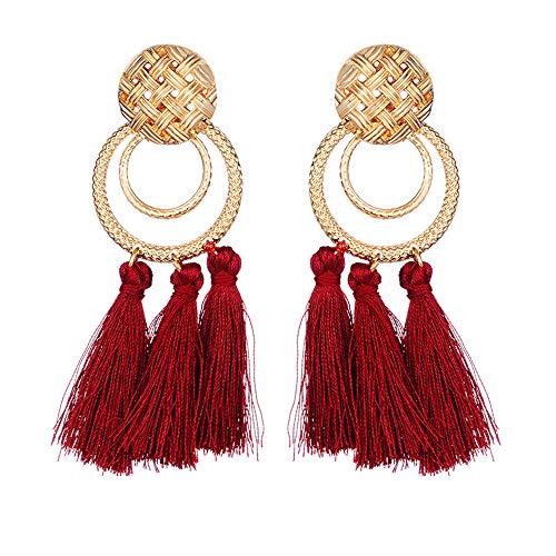 Andouy 1 Para Quaste Metall Schmuck Neue Mode Frauen Baumeln Ohrring Ohrringe Eardrop Hoops(F)