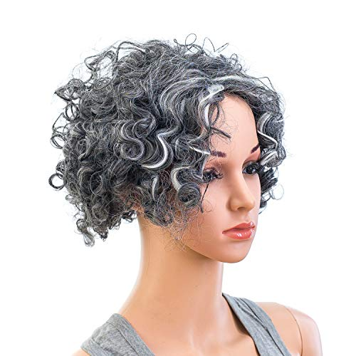 SWACC 12-Inch Old Lady Cosplay Granny Wig Short Silver Gray Grandmother Curly Wigs for Women and Kids with Wig Cap