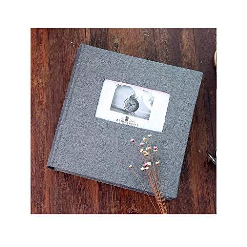 Album fotoalbum bomull och linne öppet fönsterinsats 1,5 cm familj resa examen liv album, anteckning skrivområde (färg: 200 ark med 6 tum ljusgrå)