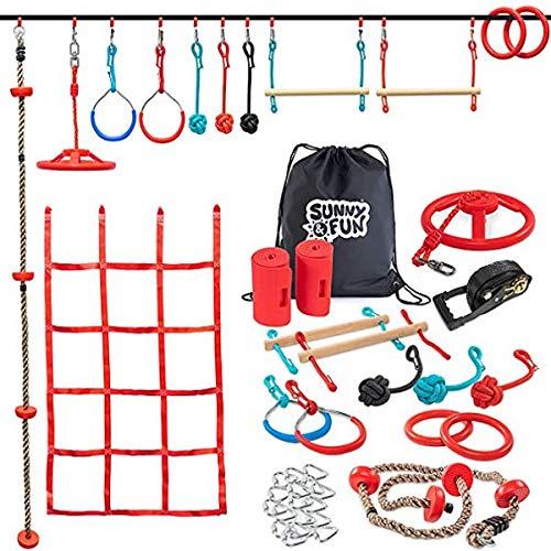 Ninja Warrior Obstáculos Course Outdoor Playground Climbing Equipment 15 Set kit asiento columpio red de escalada 50 pies cojinete de carga 100 libras con bolsa de almacenamiento