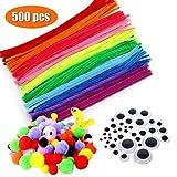 Zaloife 500 Piezas Pipe Cleaners Crafts Set, Pompones de Colores y Bastoncillos de Limpiapipas, Ojos Adhesivos Manualidades, para DIY Art Craft Decoración