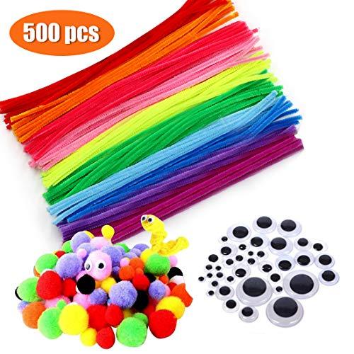 Zaloife Pfeifenputzer Bunt zum Basteln, 500 Stück DIY Pfeifenreiniger Basteln, Bunte Mini Pompons mit Kulleraugen, Pfeifenreiniger für Bastelzubehör Dekorationen