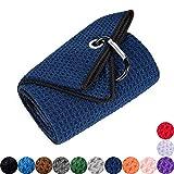 Mile High Life Tri-fold Golf Towel   Premium Microfiber Fabric   Waffle Pattern   Heavy Duty Carabiner Clip (Navy/Black)