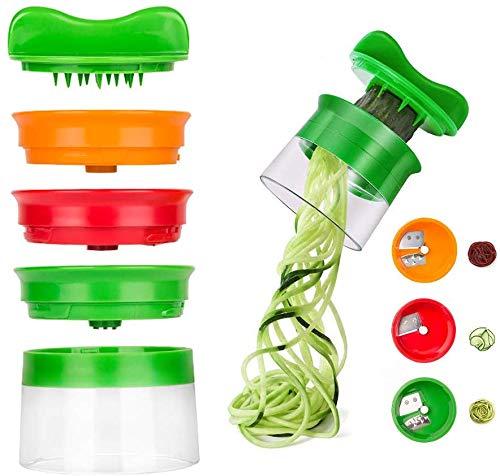 Cortador de verduras, GLURIZ Cortador de verduras espiral, Rallador verduras, Rallador espiral, Cortador en espiral Rallador y Cortador Manual Utensilio con 3 Cuchillas