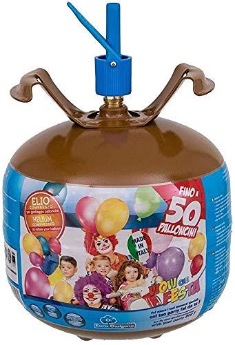 VARZI Bombona de gas helio para inflar 50 globos + 50 globos multicolor – Fiesta cumpleaños boda graduación