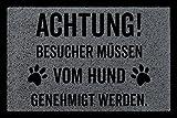 Interluxe FUSSMATTE Türmatte Achtung BESUCHER Hund Hundematte Geschenk Bodenmatte Dunkelgrau