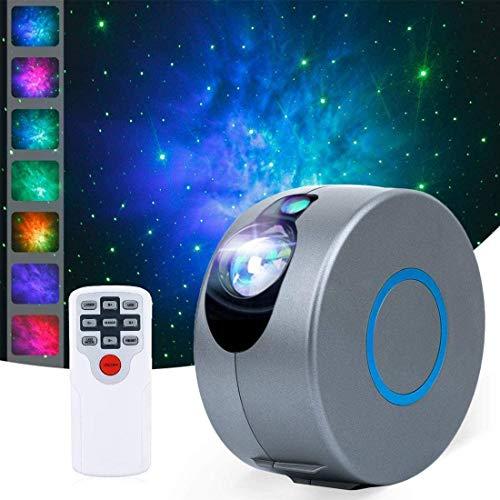 Ibello Proyector LED de cielo estrellado galaxia ondulado con mando a distancia USB luz nocturna para niños y niñas ambiente regalo festival Navidad San Valentín relajación