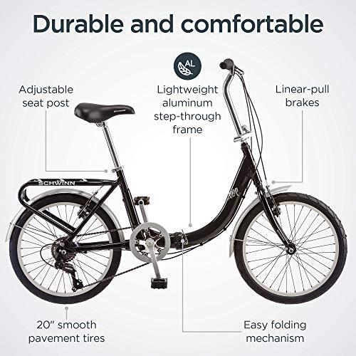 Schwinn Loop Folding Bicycle with Rear Carry Rack, Black