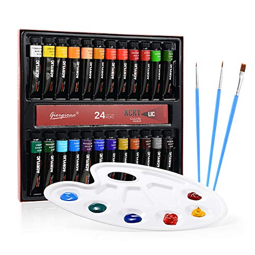 Colmanda Pintura Acrilica, 24 Tubos Acrílicos x 12mL, Set de Pintura Acrílica Con 3 Pinceles + 1 Paleta, Ideal para Artistas, Principiantes o Niños
