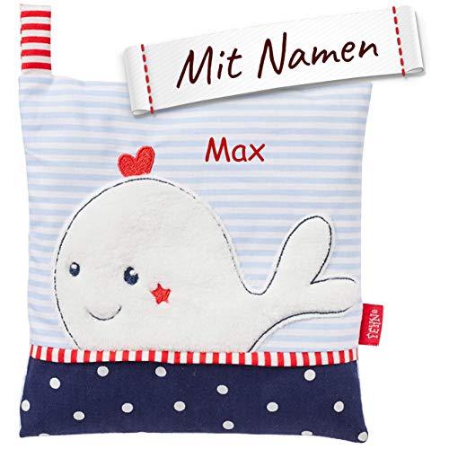 FEHN Wal Kirschkernkissen/Wärmekissen mit Namen personalisiert, Wärme-/ Kältesäckchen entnehmbar - für Babys und Kleinkinder, hilft bei Kopfschmerzen, Verspannungen, Beulen uvm.