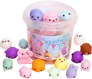 Squishies Squishy Toy 24pcs Party Favors for Kids Mochi Squishy Toy moji Kids Party Favors Mini Kawaii squishies Mochi Stress Reliever Anxiety Toys Easter Basket Stuffers fillers with Storage Box