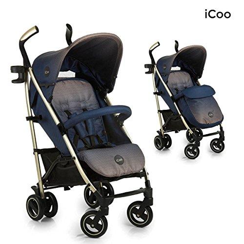 iCOO Pace - Silla de paseo de alta calidad iCOO Pace soporta hasta 25 kg con respaldo reclinable desde nacimiento, plegable y plano, ligero, chassis de aluminio, portavasos, cesta grande, beige