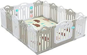 WJSW Adorable Safety Play Center Yard Baby Care Fence Toddler Play Mat Playpen with Colorful Panels  Girls Boys Children Crawling for Playroom Nursery Indoor Outdoor