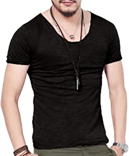 Abeaicoc Men Short Sleeve Lightweight Pure Color V Neck Casual Tshirt Top T-Shirt