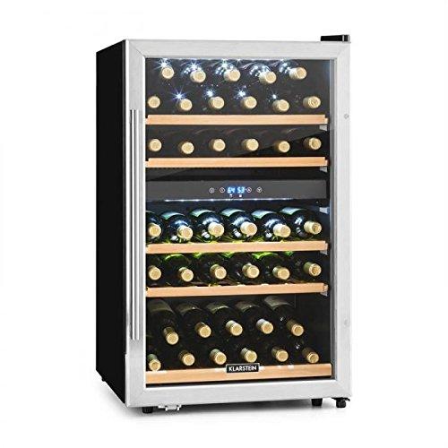KLARSTEIN Vinamour 40D - Cantinetta, Frigofero per Vino, Volume 135L, 47dB, Ideale per 41 Bottiglie, 2 Zone Programmabili, Display LCD, Touch, 5 Ripiani Estraibili, Classe C, Vetro/Acciaio