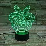 3D Lava Lampe Kreative 7 Farbwechsel LED Nachtlicht Stimmung Dekor Geschenk Schlafzimmer Tischlampe Bar Büro Kunst 3D-009