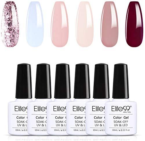 Elite99 Esmaltes de Uñas Semipermanentes, 6 Colores Esmaltes en Gel UV LED, Esmaltes Semipermanentes Soak Off 10ml - Kit 002
