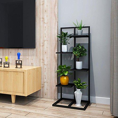 LLLXUHA Art de fer Multi-couche métal Support de fleurs, intérieur salon Type de plancher Cadre de bonsaï, balcon Plantes charnues Présentoir , Black , 40*35*100cm