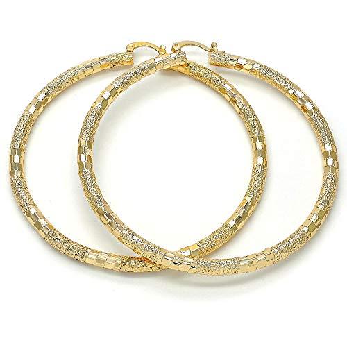 Pendientes de tubo de oro con purpurina de 4 mm de ancho, tamaño pequeño, mediano y grande, extra grande, 40 – 80 mm, oro amarillo de 14 quilates Dorado