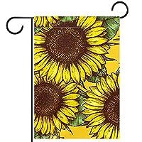 ガーデンサイン庭の装飾屋外バナー垂直旗黄色い花 オールシーズンダブルレイヤー