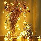Catena Luminose di Stelle, Impermeabili 5.5 M 50 LED Luci Stringa Batteria Alimentato, 2 Modalità Lampeggianti Tenda Luci Decorazione per Finestra, Giardino, Patio, Halloween, Natale, Bianco Caldo
