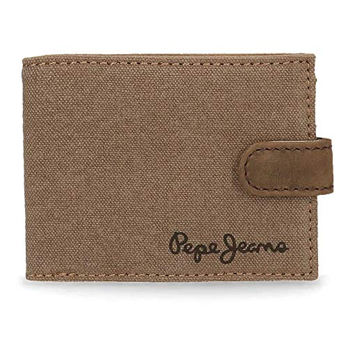 Pepe Jeans Wayne Cartera horizontal con cierre de clic Marrón 11x8,5x1 cms Lona