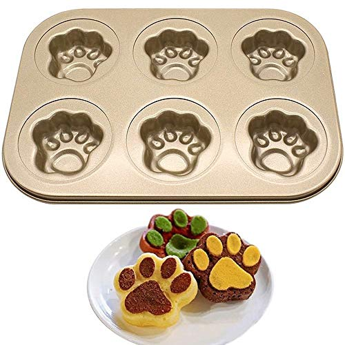 YUEXING Cake Pan, 6-Cup Non-Stick Pet Animal Shell Bakeware Mold Baking Tray Muffin Tins for Oven Cat claw